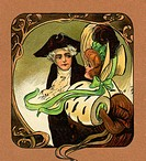 Art Nouveau style illustration of loving Regency couple.