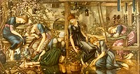 One of four paintings forming the Sleeping Beauty (Briar Rose) series, by Sir Edward Coley Burne-Jones. This one is entitled The Garden Court.