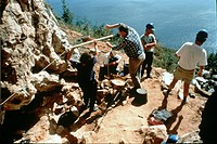 Palaeoanthropologists from the Natural History Museum, London search for evidence of Neanderthal habitation, 1998.