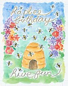 hapbee birthday ? hive fun - bee hive with bees and flowers.