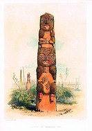 A Tiki at Raroera Pah, New Zealand. Plate from 'The New Zealanders illustrated' by George French Angas (1822-1886).