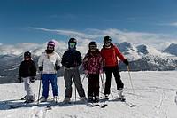 Family at a ski resort, Whistler, British Columbia, Canada