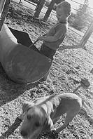 Boy and dog working on farm