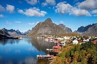 View of small fishing village of Reine on sunny autumn day, Moskenesoy, Lofoten Islands, Norway.