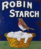 Poster for Robin Starch, showing a robin redbreast sitting on a basketful of white washing.