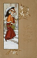 A Christmas card by Ethel Parkinson, showing an elegant lady walking through the snow with an umbrella.