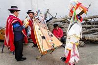 Scissors dancers Danzantes de Tijeras . Intangible cultural heritage by UNESCO. Peru.