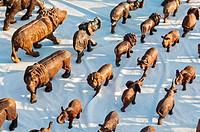Wooden souvenirs for sale, Swakopmund, Erongo Region, Namibia, Africa.