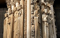 West Facade, Central Portal - Right Jamb Figures- General View c. 1145. Cathedral of Chartres, France . Gothic statues of figures. The group to the le...
