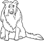 collie dog cartoon for coloring book