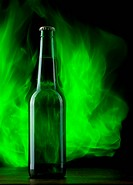 Beer bottle with color fire