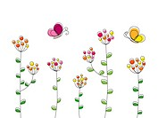 Butterflies with flowers illustration