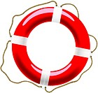 Life buoy with ropes for help and safety concept design