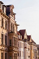 Germany, Saxony-Anhalt, Halle, Row of restored town houses