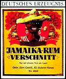 Label design for Jamaika Rum Verschnitt, a fine blended rum marketed by Illert of Klein-Auheim, Hanau, Germany. Showing a smiling Caribbean man with a...