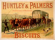 Advertisement for Huntley and Palmers Biscuits (of Reading & London) - original lithograph poster printed by W H Smith.