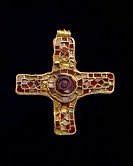 Cross (Holderness Cross). high-status pectoral cross; gold and cloisonne work inlaid with garnets; an early example of the Christian symbol in Anglo-S...