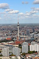 Partial view of downtown Berlin City - East to the residential Leipziger Strasse / Spittelmarkt center. In the background of the television tower. - B...