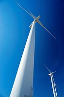 Landscape. Wind turbine. Wind Power. Wind energy. Mountain range of Suido. Eastern Atlantic. Pontevedra. Galicia. Spain. Europe.