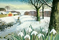 'Snowscene with Snowdrops in Foreground' û with shepherd and sheep and farm buildings