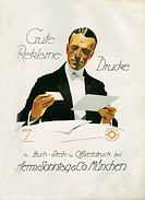 A German poster advertising Herm Sunday & Co printing. Munich. By Ludwig Hohlwein