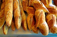 French breads: baguette and pain d´epi, France