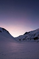 Evening mood, Oberalppass, Oberalp, snow, Switzerland, Europe, Uri, winter, violet, mountains