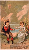L'Aigle et la Colombe. Card shows boy wearing a crown sitting outside with a girl in a white dress. A balloon flies in the distance. Date between 1860...