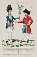 Portrait d'apres nature du Sr. Harne natif de Dole en Franche Comte Grenadier aux Gardes Francaises qui emonte le premier e l'assaut et e arrete le go...