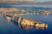 Aerial view of Dragonera island at sunset. Majorca on the background. Andratx area. Protected area. Balearic islands, Spain