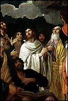 Ascension, by Damini Pietro, 17th Century, oil on canvas. Italy, Veneto, Padua, San Francesco Church. Detail. Apostles, Disciples men faces turned tow...