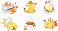 illustration of icon set representing autumn