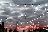 public lights in Stratford, London, UK.