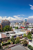 Chile, Santiago, elevated city view of the Providencia area.