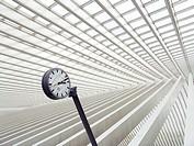 Trainstation clock at Liege Station, Station Liege-Guillemins, Liege, Belgium, Europe.