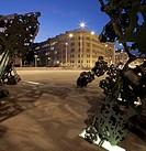 Sculpture on Schwarzenbergplatz square at night, 4. Bezirk, Vienna, Austria