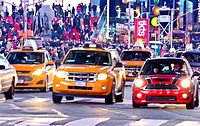 Rush hour traffic, Mass Transit, Broadway, 42nd Street Time Square, Midtown Manhattan, New York City, USA.