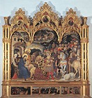 Altarpiece with the Adoration of the Magi, by Gentile di Niccol known as Gentile da Fabriano, 1423 about, 15th Century, tempera on panel, cm 303 x 282...