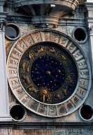Animated clock with gold and blue enamel dial (15th century), Clock Tower, St Mark's Square, Venice (UNESCO World Heritage List, 1987), Veneto, Italy.