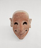 Male mask in terracotta, by Unknown Artist, 6th Century b.C. -, . Italy, Sicily, Trapani, Mozia, Whitaker Museum. All. Mask male figure apotropaic gra...