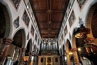 Interior with organ loft, St. Stephen's Church, Konstanz, Baden-Württemberg, Germany