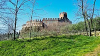 Medieval castle at Soave on Monte Tenda, Soave, Veneto, Italy.