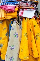 Close up of colorful tablecloths on display at a shop, Bavaria, Germany, Europe