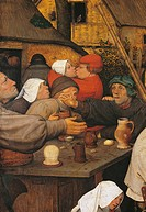 The Peasant Dance, by Pieter Bruegel the Elder, 1566, 16th Century, oil on wood, cm 114 x 164. Austria, Wien, Kunsthistorisches Museum. Detail. Two pe...