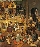 The Fight Between Carnival and Lent, by Pieter Bruegel the Elder, 1559, 16th Century, oil on wood, 118 x 164 cm. Austria, Wien, Kunsthistorisches Muse...