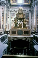 Chapel of the Blessed Sacrament, also known as Chapel of Pope Sisto the 5th, by Domenico Fontana, 1585 - 1595, 16th Century, polychrome marble. Italy,...