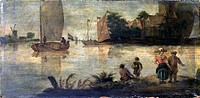 River Landscape with Ships, by Unknown Dutch Artist, 17th Century, oil on board, 18 x 35 cm. Italy, Lombardy, Milan, Castello Sforzesco, Civic Collect...
