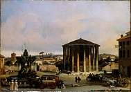 View of the Temple of Vesta, by Giacomo Caneva, 1843, 19th Century, oil on canvas. Italy, Veneto, Padua, Civic Museum Eremitani. Whole artwork view. U...