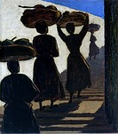 Coming back from Francavilla Market, by Mina Anselmi, 1961, 20th Century, oil on canvas, 88,5 x 78,5 cm. Italy, Veneto, Vicenza, Civic Museums. Whole ...