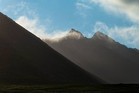 Morning cloud on Sgurr Sgumain and Sgurr a Choire Bhig, Black Cuillin, as seen from Glen Brittle; Isle of Skye, Scotland
